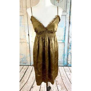 BCBGMAXAZRIA Brown Polka Dot Silk Babydoll Dress